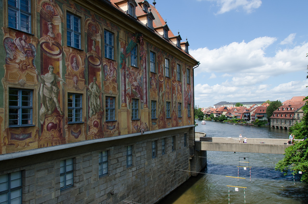 "Town hall of Bamberg with ""Little Venice"" in distance. Regnitz River."