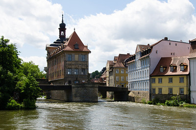 Medieval town hall of Bamberg, Germany, built in the middle of the river because the burghers controlled one side of the river and the clerics the other, and they both wanted the town hall on their side. This was the compromise.
