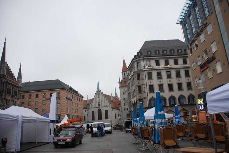 Marienplatz, preparation for a beer fest, I guess