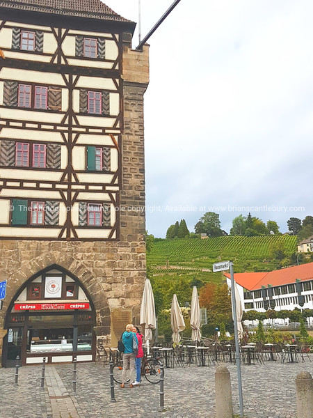 Streets and architecture of small German town Esslingen