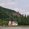 The Church and Reichenstein Castle atTrechtningshausen am Rhein