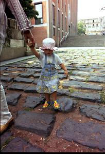 Sarenka on ancient Roman street in Koln