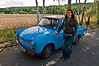 Carolina posing next to a Trabant