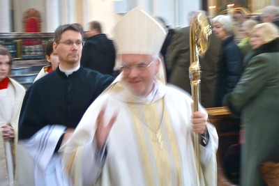 The bishop of Dresden-Meissen, the Most Reverend Heiner Koch, said mass.  Afterward he walked slowly up the nave blessing the congregation.