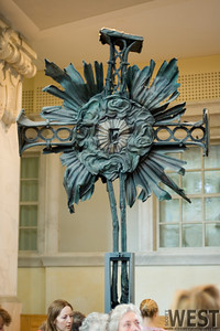 This is the cross that stood on the original Frauenkirche, melted by the Feb 13-14, 1945 bombing.  It is now on display in the rebuilt church.