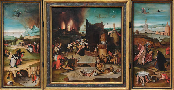 Altarpiece showing the temptation of Antonius by Hieronymus Bosch 1540