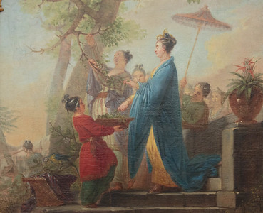 The Empress of China plucking the first mulberry leaves in honor of silk making.  By Christian Bernhardt Rode, 1771