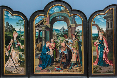 Triptych with the Anbetung der Konige  (Adoration of the King) by Joos van Cleve 1520