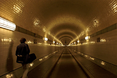 Alter Elbtunnel with Alessandro walking ahead