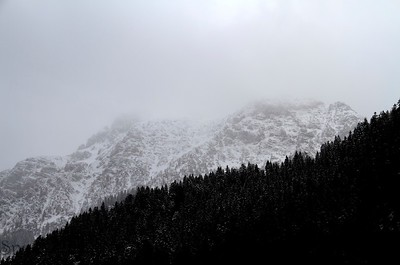 A snow covered mountain with the sky as copy space.