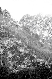 Neuschwanstein Castle again Snowy Mountains