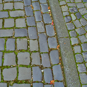 Cobbled road and pavement.