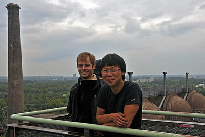 Patrick and Zong on top of the Hochofen in Landschaftspark Nord in Duisburg
