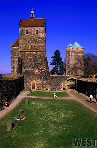 Burg Stolpen courtyard.  The Duchess Cosel's was imprisoned in the tower on the right for 49 years.