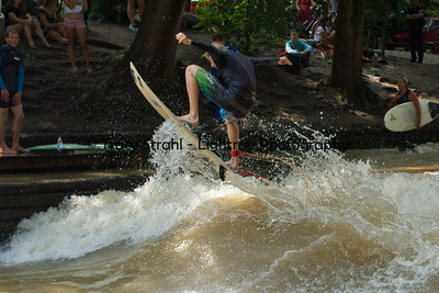 20120621-IMG_8566 Fresh water surfing, the standing wave on the Eisbach River in downtown Munich's English Gardens.