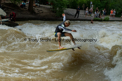 Surfing the Eisbach River, Munich 6/21/2012