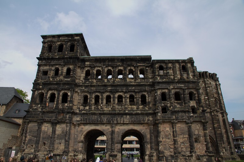 Porta Nigra.  This is a city gate built by the Romans when they controlled this area of Germany.