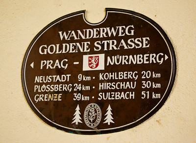 I believe the Czech Republic is a mere 35km east from Weiden, and Nürnberg is only about 45 minutes west!  I loved this sign.