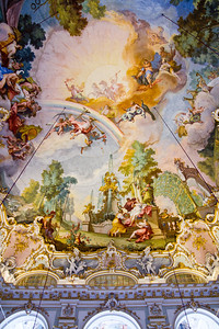 Stone Hall ceiling fresco (Flora, goddess of flowers, surrounded by nymphs) Nymphenburg Palace Munich, Germany