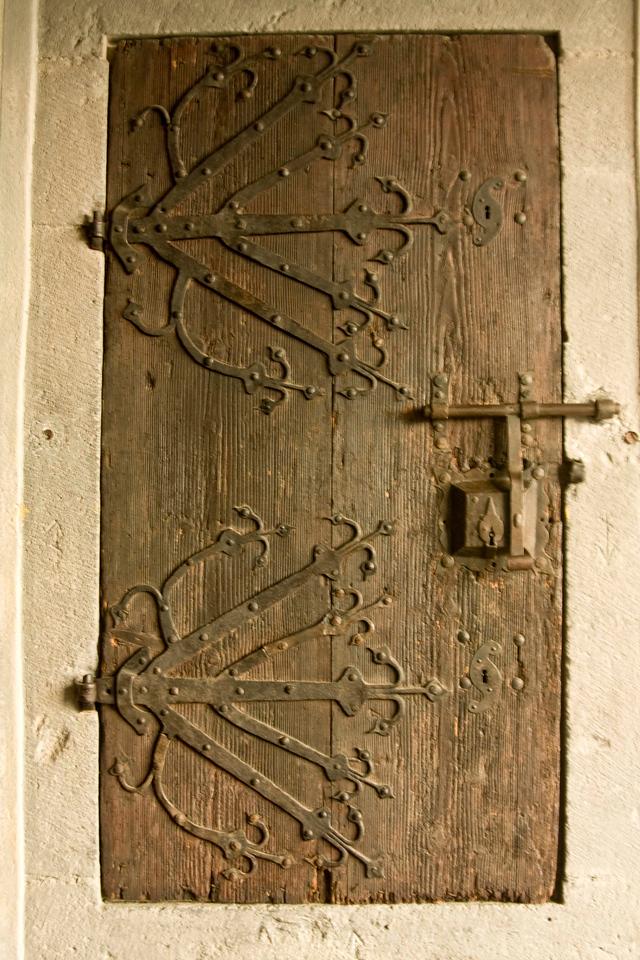 A medieval door at Marksburg Castle.