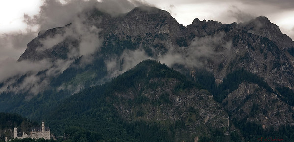 Neuschwanstein Castle, Bavarian Mountains. View from our hotel.