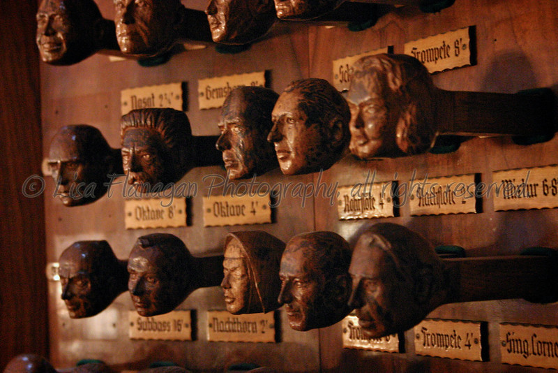 If Hogwarts had a pipe organ I'm pretty sure the stops would look like this, and they would talk.<br /> I took this picture of an old organ console at Jakobikirchhof  in Hamburg, Germany. Summer of 2007.
