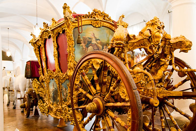 Coronation coach of Emperor Charles VII Marstall Museum at Nymphenburg Palace Munich, Germany