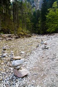 Stacked rocks at Pöllat Gorge Schwangau, Germany
