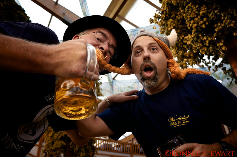 Paul McEvoy and Ivan Derezin having fun at Oktoberfest, Wanderlust Bike Tours