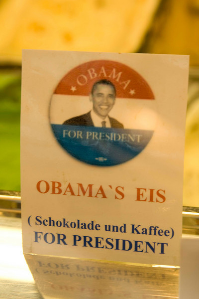 They really like our President in Essen. This was at an ice cream store.