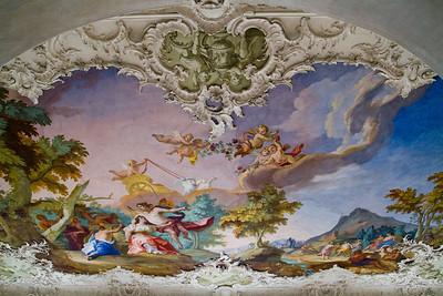 Stone Hall ceiling fresco Nymphenburg Palace Munich, Germany