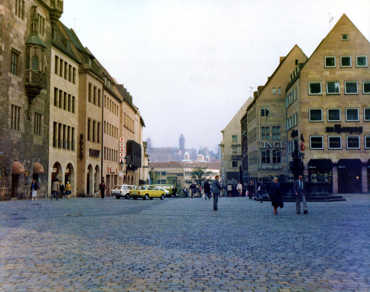 Nürnberg business district with Nürnberg Castle in the distance.<br /> ©1981 Thomas Stanziale. All rights reserved. Camera: Minox GL