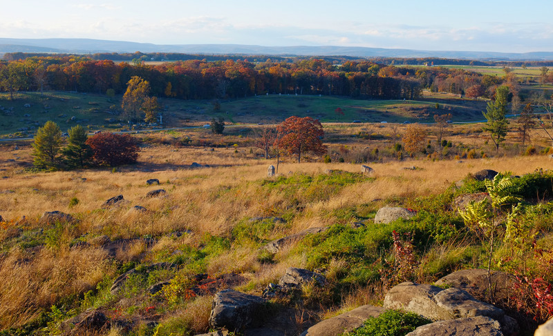 © Mark J. Lucas<br /> <br /> This is the scene from the Union vantage point on high ground looking and awaiting Pickett's Charge from west.  This site was also used in the reenactment from the movie, Gettysburg.