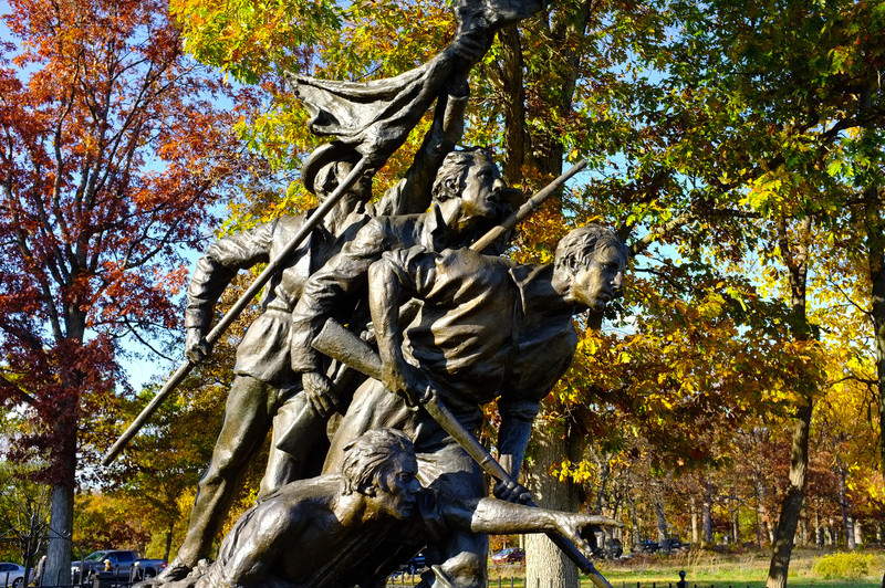 © Mark J. Lucas<br /> <br /> A closeup of the monument with the beautiful fall colors in the background.