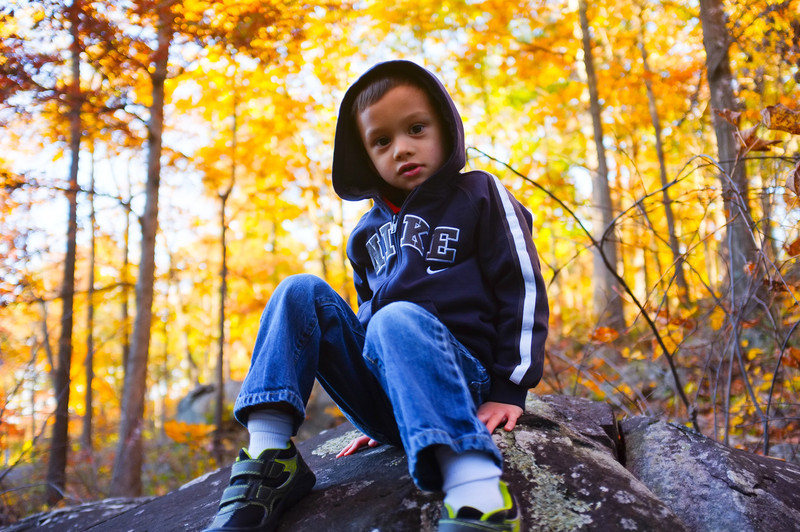 © Mark J. Lucas<br /> <br /> I took this picture of Matthew on top of one of the large boulders at Devil's Den with my new X100.