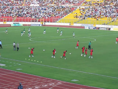 warming up for the Ghana-Sudan match