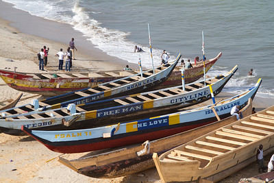fishing boats at Elmina (note the Christian and Muslim influence--on the same boat)