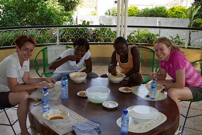 enjoying the final product of the fufu class