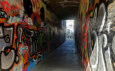 The alley off the Hoogpoort where graffiti is not just tolerated but encouraged.  3.50pm, 28/08/13