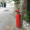 A fire hydrant, very different from those in the UK and more like those in the USA.