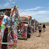 Cadillac Ranch, in all of its' painty glory.  This art-project lives off the side of I-40 west of Amarillo (or Am'riller in these parts).  The cars are buried in the order of the evolution of the tail-fin, and the public is allowed to add grafitti as they see fit.