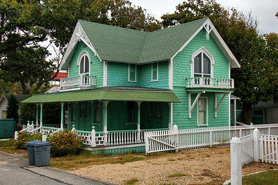 Of all the beautiful pink and blue themed houses, this green treatment was a refreshing change.