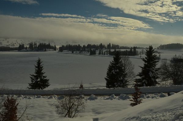 Le Lac des Rousses, looking southerly twards the Jura, in the clouds.