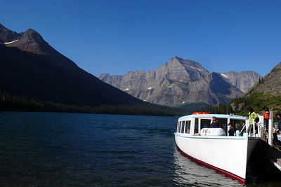 This boat ride on Lake Josephine saved us about 4 miles off the hike to Grinnell Glacier