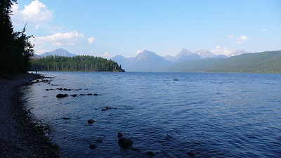 The view of McDonald Lake from Fish Creek Campground.