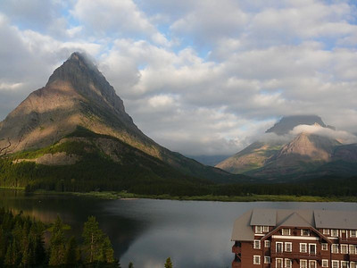 Many Glacier Lodge on the shores of Swiftcurrent Lake.