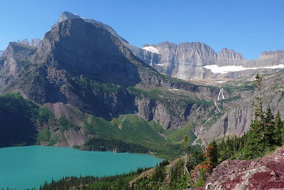 Grinnell Lake and Salamander Glacier. Grinnel Lake shows the characteristic color that comes from glacial run off.