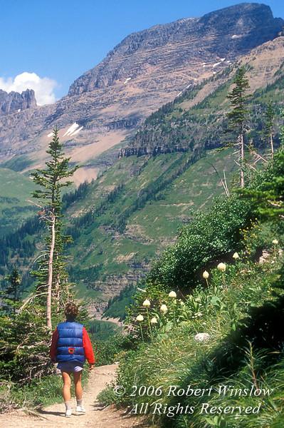 Model Released, Female Hiker, Highline Trail, Logan Pass Area, Glacier National Park, Montana