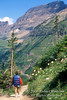 Model Released, Female Hiker, Highline Trail, Logan Pass Area, Glacier National Park, Montana