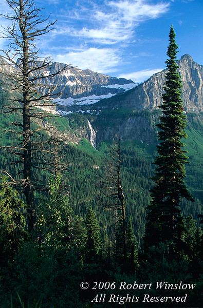 Bird Woman Falls, Waterfall, Glacier National Park, Montana, USA, North America